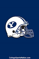 White Brigham Young football helmet with Blue Y on blue background.