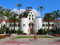 Well known white building on San Diego State University campus.