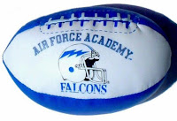 Air Force Academy Falcons football helmet with lightning bolt on toy stuffed football.