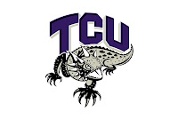TCU logo with horned frog drawing.
