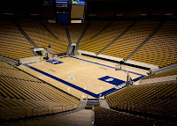 Empty BYU basketball arena from the inside.