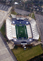 Aerial view of empty Rice University football stadium.