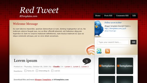 Red Tweet Blogger Toolbox: Fresh, Free and Stunning Blogger Templates