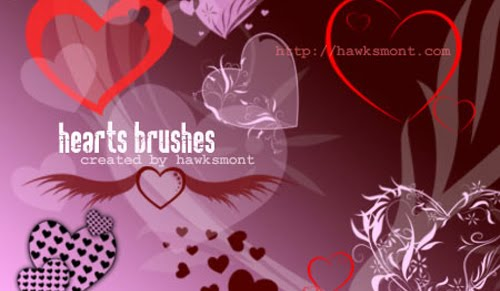 Photoshop+Heart+Brushes+Collection Valentines Day Inspired: Design Resources Roundup
