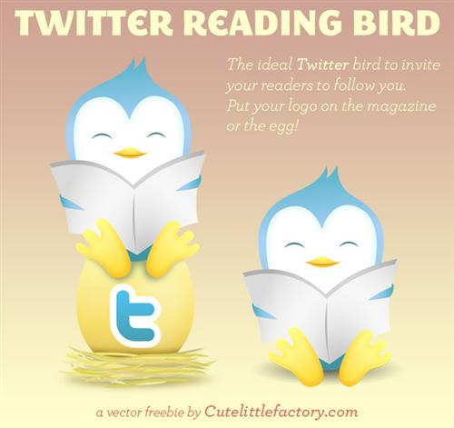 Twitter+Reading+Bird+%E2%80%93+Vector+Freebie Fresh and Exceptional Twitter Bird Design Icons
