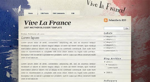 Vive+La+France Huge Compilation of Best Blogger Templates Released in 2010 | Blogspot Toolbox