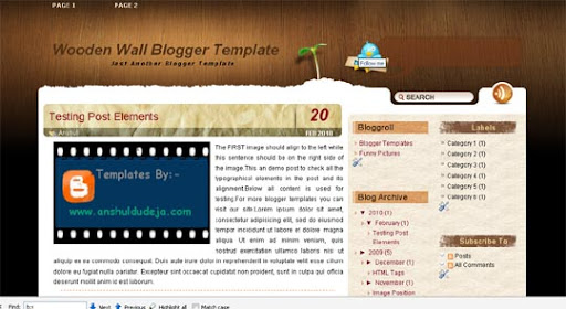 Wooden+Wall Huge Compilation of Best Blogger Templates Released in 2010 | Blogspot Toolbox