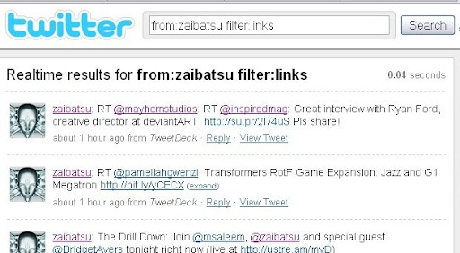 zaibatsu+filter+links Some Lesser known Twitter Search Tricks
