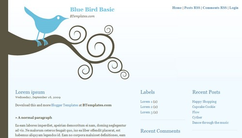 Bluebird Basic 40+ New and Fresh Blogger Templates