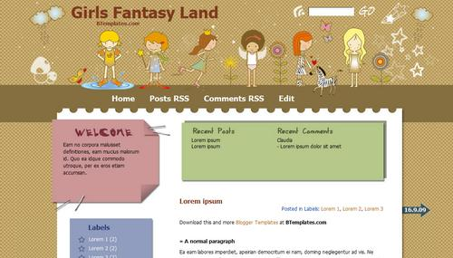 Girls Fantasy Land 40+ New and Fresh Blogger Templates