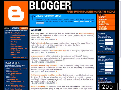 2001 Blogger Platform Over the Years (Pictures) (1999   2009)