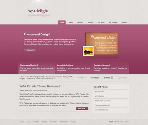 WP+a+Delight Fresh Premium Wordpress Themes Designed in 2010