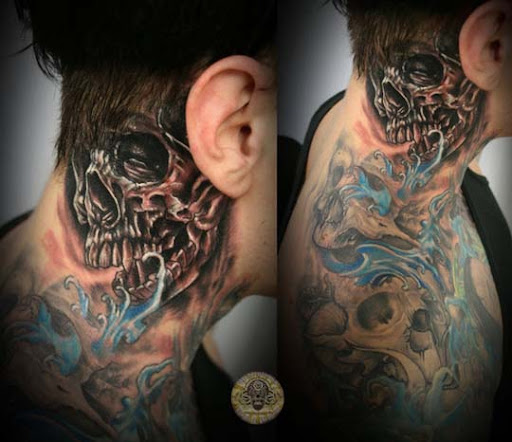 Crazy Skull behind the ear tat by 2Face Tattoo Incredible Tattoo Designs and Body Art to Inspire You