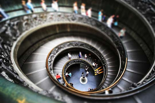 Vatican+exit+stairs,+Rome,+Italy 50+ Beautiful Examples of Tilt Shift Photography