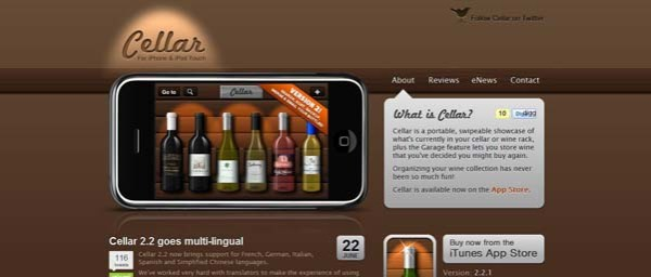 Cellar+for+iPhone+and+iPod+Touch Best Examples of iPhone Apps Websites Designs