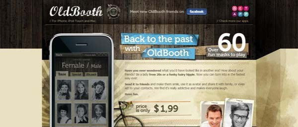 OldBooth Best Examples of iPhone Apps Websites Designs