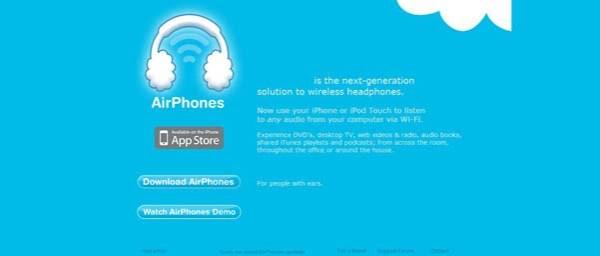 AirPhones Best Examples of iPhone Apps Websites Designs