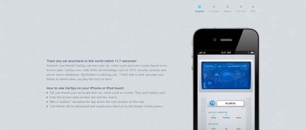 CarSpy Best Examples of iPhone Apps Websites Designs