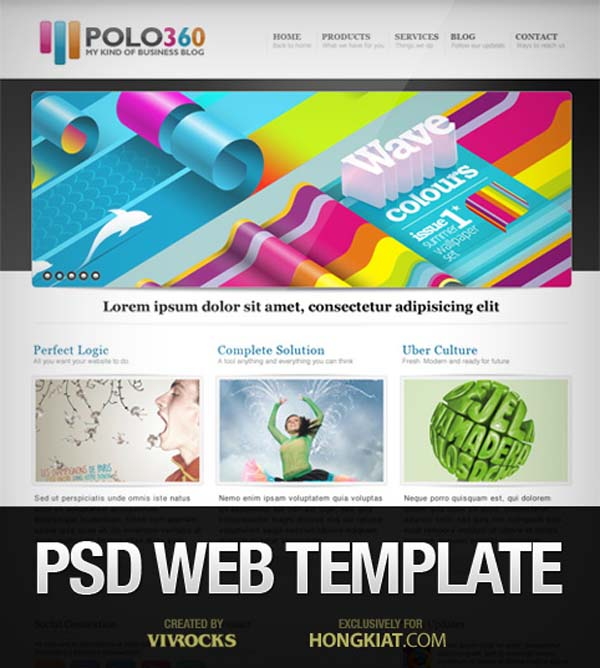 Web+Template+in+Photoshop+PSD+%25E2%2580%2593+Polo360 80+ Free Editable PSD Website Templates