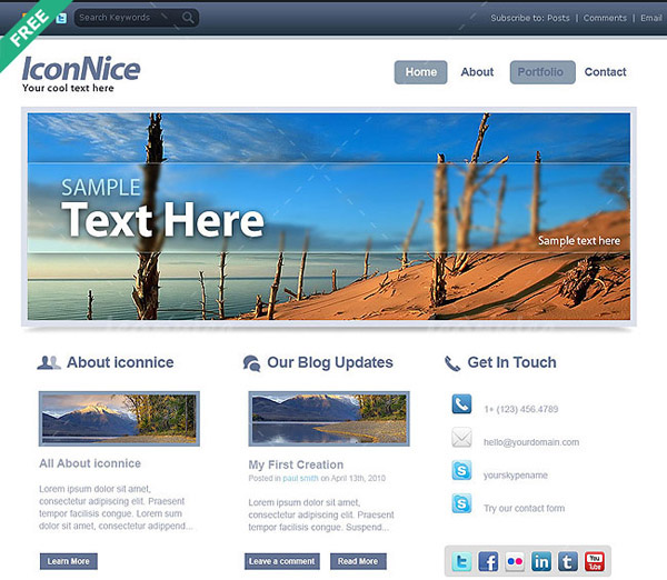 iconnice+website+%2526+blog 80+ Free Editable PSD Website Templates