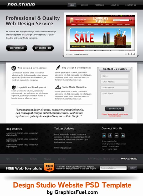 Sleek+Design+Studio+PSD+Website+Template 80+ Free Editable PSD Website Templates