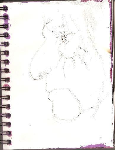 Whoopidooings - Carmen Wing - Alice Cooper in biro pen
