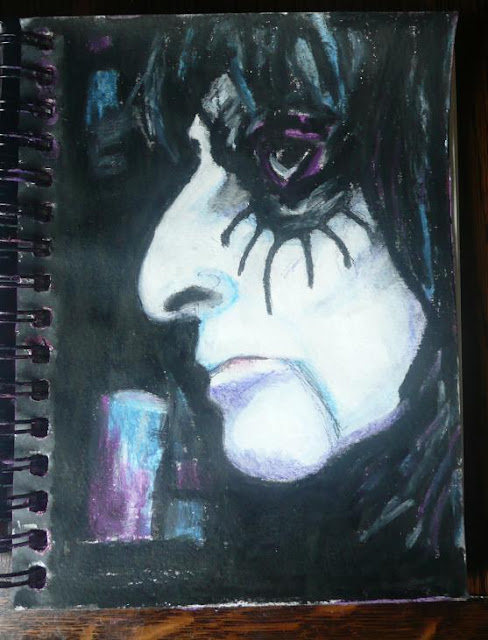 Whoopidooings - Carmen Wing - Alice Cooper in Watercolour crayons