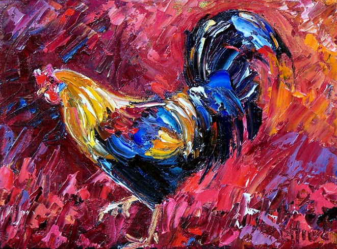 Debra hurd original paintings and jazz art rooster for Abstract animal paintings