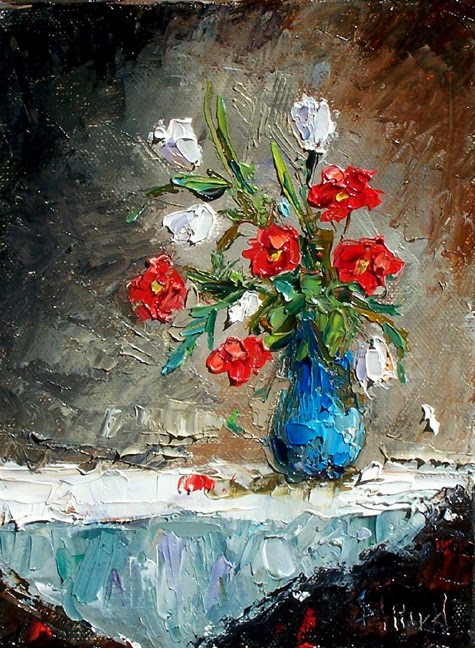 Debra Hurd Original Paintings And Jazz Art Flowers In Vase Painting
