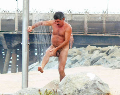 Dad Naked In Beach Shower