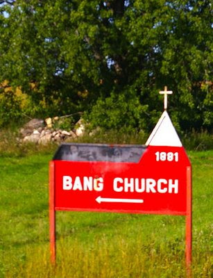 Bang Church sign, N.D. 200, Steele County