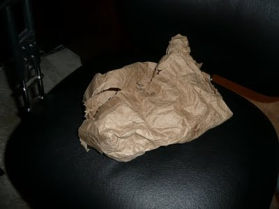 Reused brown paper lunch bag