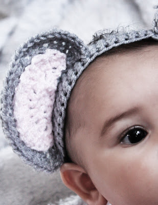 little mouse gray and pink crochet baby headband close up