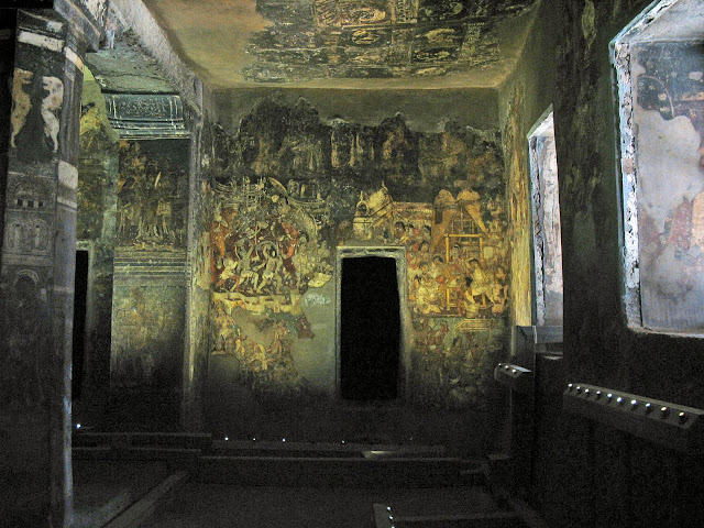 Ajanta paintings inside cave