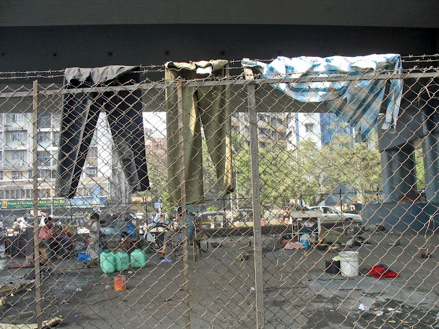 homeless people under a flyover