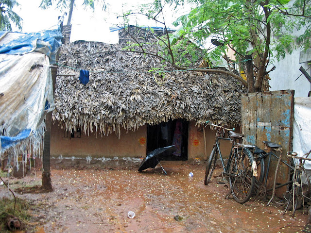 close-up of thatched hut in India
