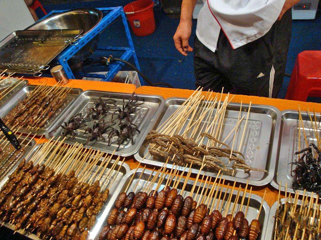 fried insects in China restaurant