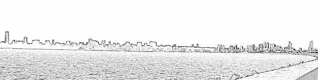 mumbai malabar hill skyline sketch