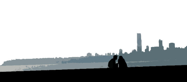 silhouetted couple illustration