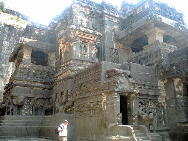 Kailashnath temple walls at Ellora
