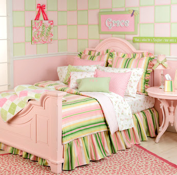 Great art decoration pink bedroom for Pink green bedroom designs