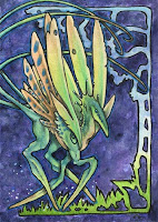 creature, alien, dragon, monster, aceo, art, fantasy, bloodhound-omega
