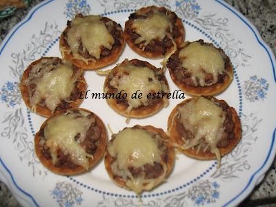 Canastillas de carne y queso