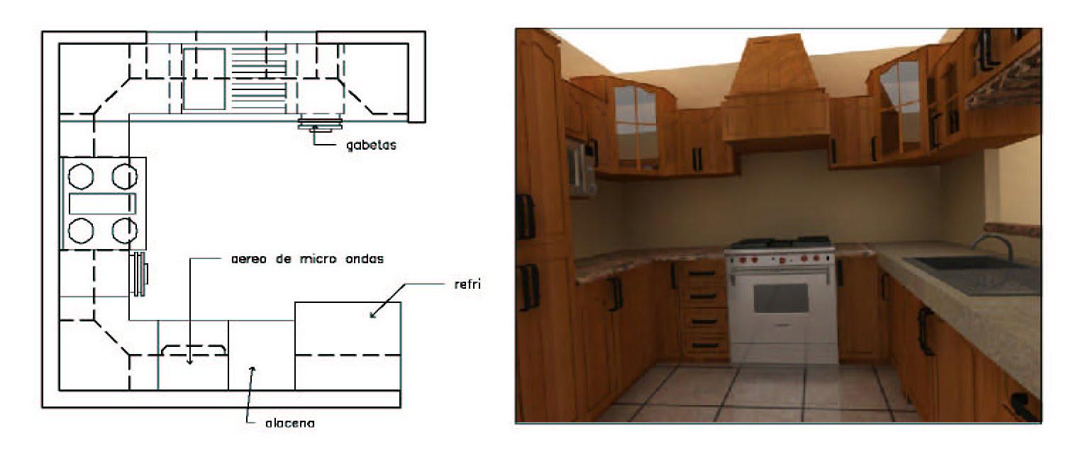 Ecampaneros dise o de cocinas for Planos de cocinas 4x4