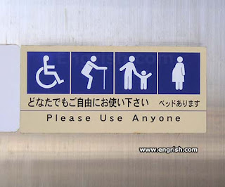 Access sign that translates figures and Asian into Please Use Anyone