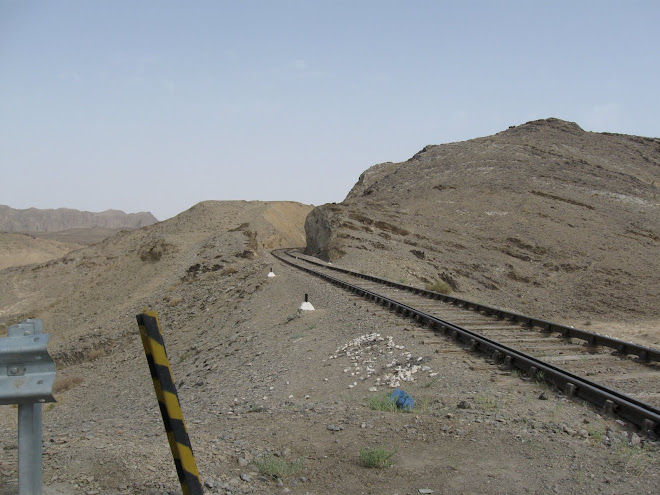 Railway line snaking through the desert.
