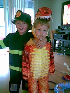 Boy and Justin in costume