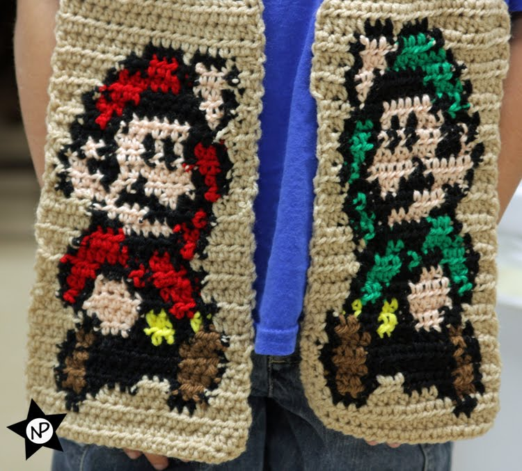 Multibeavos World Free Crochet Pattern Super Mario Luigi Scarf