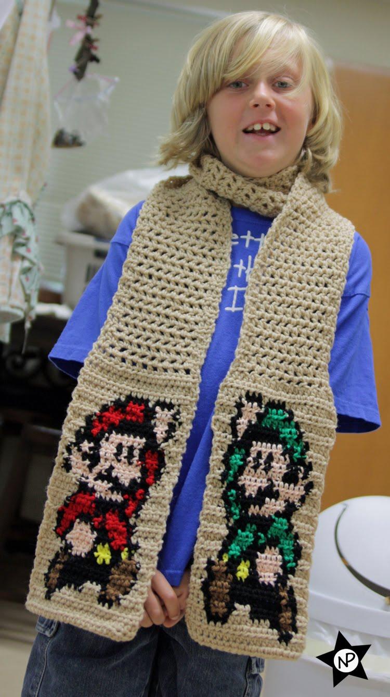 Multibeavos World Free Crochet Pattern Super Mario Luigi Scarf