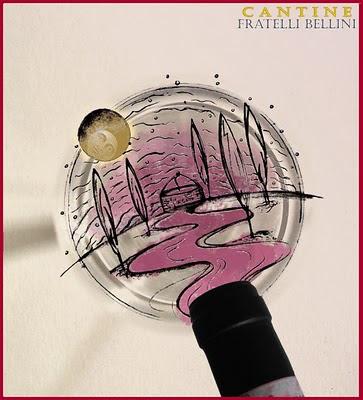 cantine fratelli bellini: versare il vino nel bicchiere e nel pozzo